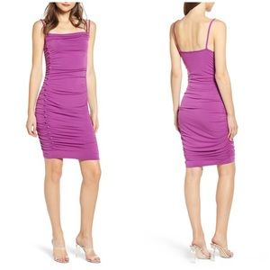 Leith Ruched Side Button Body-Con Dress Purple XL